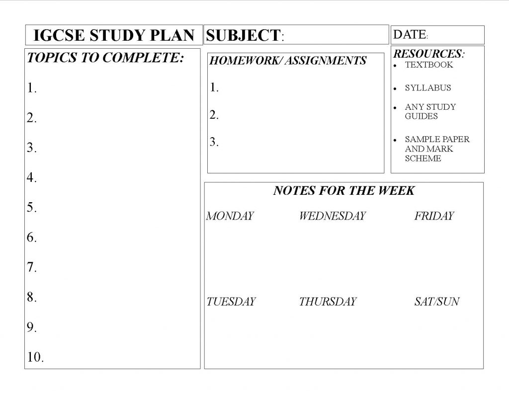 igcse-homeschooling-study-planner-for-a-subject